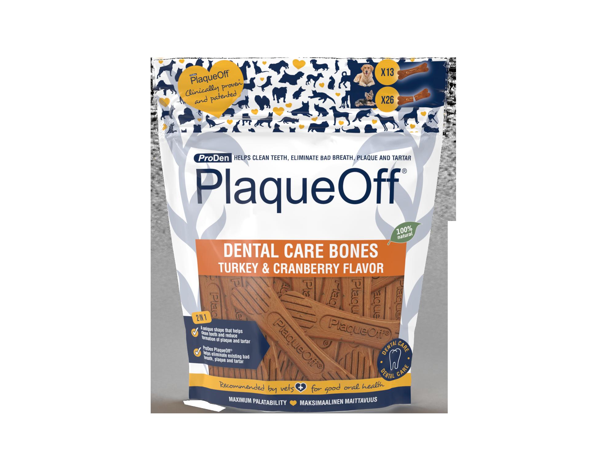 ProDen PlaqueOff® Dental Care Bones – Kalkoen & Cranberries