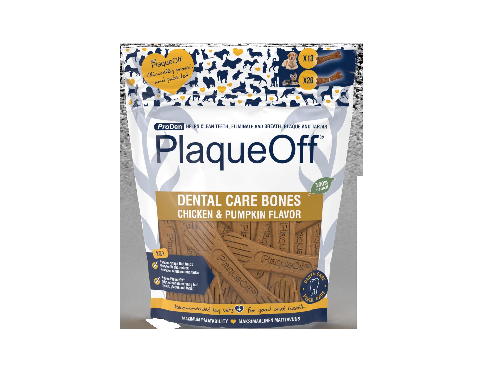 ProDen PlaqueOff® Dental Care Bones – Kip & Pompoen